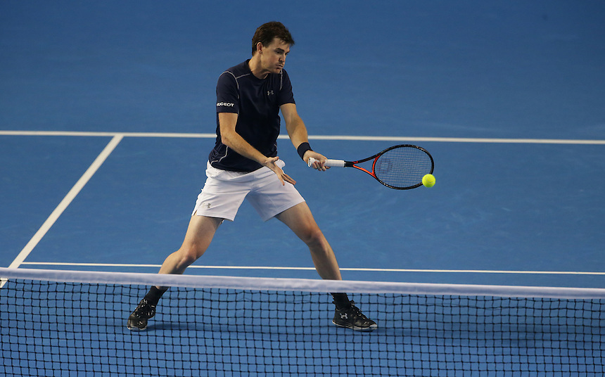 Jamie Murray in action with partner Andy Murray during their doubles rubber against Yoshihito Nishioka and Yasutaka Uchiyama today - Andy Murray and Jamie Murray (GBR) def Yoshihito Nishioka and Yasutaka Uchiyama (JPN) 6-3 6-2 6-4<br /> <br /> Photographer Stephen White/CameraSport<br /> <br /> International Tennis - 2016 Davis Cup by BNP Paribas - World Group First Round - Great Britain v Japan - Day 2 - Saturday 5th March 2016 - Barclaycard Arena, Birmingham, Great Britain<br /> <br /> &copy; CameraSport - 43 Linden Ave. Countesthorpe. Leicester. England. LE8 5PG - Tel: +44 (0) 116 277 4147 - admin@camerasport.com - www.camerasport.com.