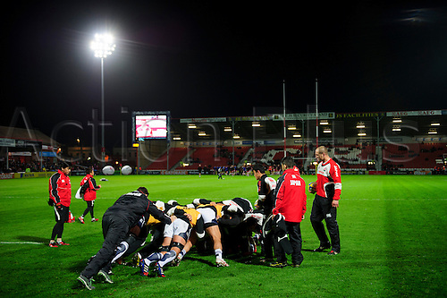 12.11.2013 Gloucester, England. Japan forwards practice a scrum under the eye of assistant coach Steve Borthwick before the International Friendly Rugby Union match between Gloucester Rugby and Japan at Kingsholm Stadium.