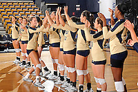 11 September 2011:  FIU setter Jessica Egan (6) high-fives with teammates during player introductions.  The FIU Golden Panthers defeated the Florida A&M University Rattlers, 3-0 (25-10, 25-23, 26-24), at U.S Century Bank Arena in Miami, Florida.