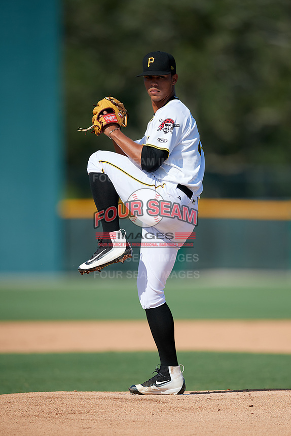 GCL Pirates starting pitcher Luis Arrieta (23) delivers a pitch during a game against the GCL Yankees West on August 2, 2018 at Pirate City Complex in Bradenton, Florida.  GCL Pirates defeated GCL Yankees West 6-2.  (Mike Janes/Four Seam Images)