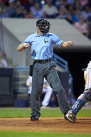 Home plate umpire Chris Graham calls a batter out on strikes during the International League game between the Louisville Bats and the Toledo Mud Hens at Fifth Third Field on June 16, 2018 in Toledo, Ohio. The Mud Hens defeated the Bats 7-4.  (Brian Westerholt/Four Seam Images)
