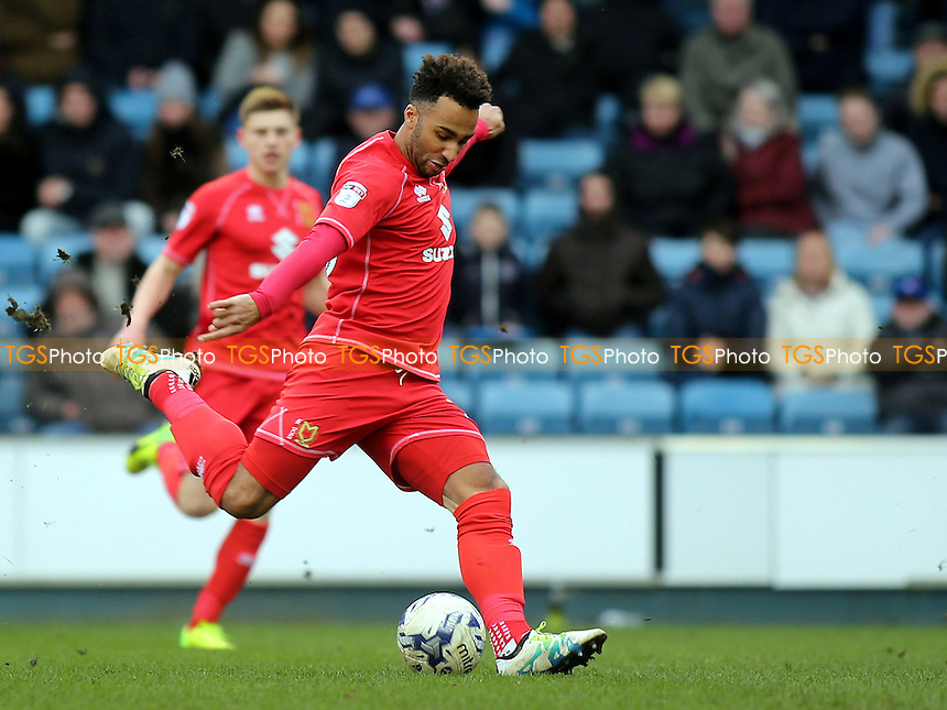 Nicky Maynard of MK Dons takes a shot at the Millwall goal during Millwall vs MK Dons, Sky Bet EFL League 1 Football at The Den on 4th March 2017