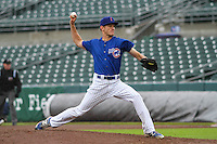 Iowa Cubs pitcher Drew Rucinski (17) delivers a pitch during a Pacific Coast League game against the Colorado Springs Sky Sox on May 1st, 2016 at Principal Park in Des Moines, Iowa.  Colorado Springs defeated Iowa 4-3. (Brad Krause/Four Seam Images)