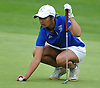 Malini Rudra of Syosset gets ready to putt on the 10th Hole of Bethpage State Park's Yellow Course during the second round of the NYSPHSAA girls golf state championship on Sunday, June 3, 2018.