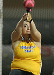 VERMILLION, SD - FEBRUARY 8:  Shelby Assmus from South Dakota State University throws the hammer at the University of South Dakota Track Alumni Meet Saturday at the DakotaDome in Vermillion.  (Photo by Dave Eggen/Inertia)