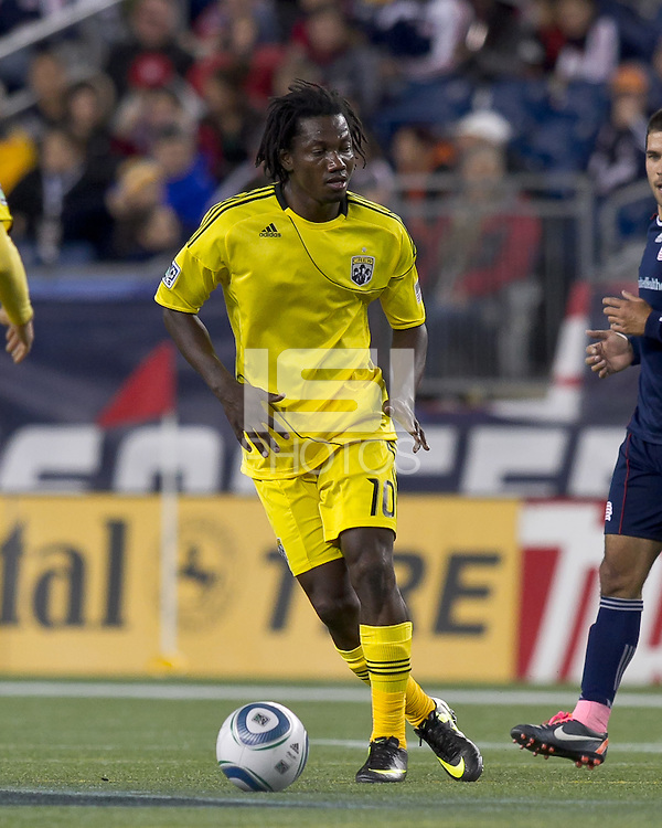 Columbus Crew forward Andres Mendoza (10) dribbles. In a Major League Soccer (MLS) match, the Columbus Crew defeated the New England Revolution, 3-0, at Gillette Stadium on October 15, 2011.
