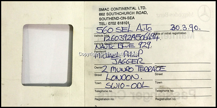 """BNPS.co.uk (01202 558833)Pic: OmegaAuctions/BNPS<br /> <br /> The original service book from Mick Jagger's Mercedes 560 EL which he sold to Bill Wyman.<br /> <br /> A pair of vintage Mercedes belonging to Rolling Stones founder member Bill Wyman have emerged for sale for over £30,000.<br /> <br /> The 560 SEL and the 500 SEL saloon cars have been with the legendary rocker for several years and he even bought the 560 from his bandmate Mick Jagger.<br /> <br /> He has decided to part with the vehicles with a heavy heart as he says they are 'wasted' sitting in his garage.<br /> <br /> They are to sell with Omega Auctions of Newton-Le-Willows, Merseyside, who say the cars have a real 'rock star pedigree'.<br /> <br /> The 560 was bought by Wyman in 1993 when he purchased it from Jagger, who had himself owned it for three years.<br /> <br /> He sensationally quit the band later that year and used the classy saloon on his daily commute to and from his lavish home in Vence, France.<br /> <br /> The 1990 model has 136,000 miles on the clock, 40,000 of which were put on by Jagger.<br /> <br /> Wyman says that he actually owes his life to the four-door's build quality, as on one occasion his driver fell asleep at the wheel, ploughing into a motorway barrier.<br /> <br /> It has a stunning blue body, cream leather interior and celebrity-friendly tinted windows.<br /> <br /> It is powered by a whopping V12 engine but has spent most of its recent years going unused in Wyman's garage.<br /> <br /> Speaking about the German classic, the guitarist said: """"I was forever grateful for my decision to buy it, as it was a dream to drive the 14/15 hours from London to France regularly.""""<br /> <br /> The 560 SEL was bought by Wyman to replace the other Mercedes he has now decided to sell - a 1982 500 SEL.<br /> <br /> The 81-year-old has owned the car since new and covered around 115,000 miles in it, but it is now set to go under the hammer for up to £12,000.<br /> <br /> He says that back """