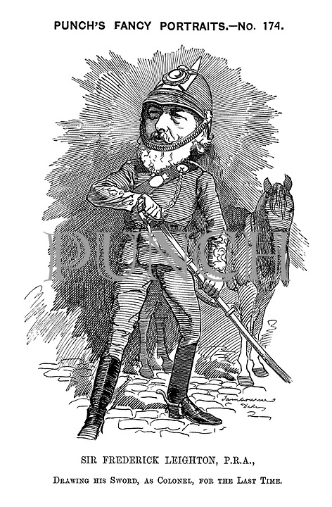 Punch's Fancy Portraits. - No. 174. Sir Frederick Leighton, P.R.A., drawing his sword, as Colonel, for the last time.
