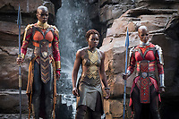 Black Panther (2018)<br /> Okoye (Danai Gurira), Nakia (Lupita Nyong'o) and Ayo (Florence Kasumba)<br /> *Filmstill - Editorial Use Only*<br /> CAP/KFS<br /> Image supplied by Capital Pictures