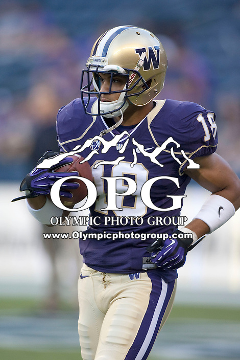 Sept 01, 2012:  Washington's #18 Gregory Ducre against San Diego State.  Washington defeated San Diego State 21-12 at CenturyLink Field in Seattle, Washington...