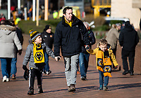 Wolverhampton Wanderers fans arrive at Molyneux before the Premier League match between Wolverhampton Wanderers and Norwich City<br /> <br /> Photographer Alex Dodd/CameraSport<br /> <br /> The Premier League - Wolverhampton Wanderers v Norwich City - Sunday 23rd February 2020 - Molineux - Wolverhampton<br /> <br /> World Copyright © 2020 CameraSport. All rights reserved. 43 Linden Ave. Countesthorpe. Leicester. England. LE8 5PG - Tel: +44 (0) 116 277 4147 - admin@camerasport.com - www.camerasport.com