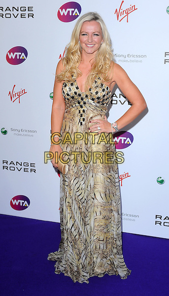 Michelle Mone.The WTA Tour Pre-Wimbledon Party, The Roof Gardens, Kensington, London, England..16th June 2011.full length brown beige leopard animal print dress maxi hand on hip.CAP/BEL.©Tom Belcher/Capital Pictures.