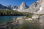 Wind River Range, WY: Papoose Lake with the Monolith in the distance; Popo Agie Wilderness; Shoshone National Forest