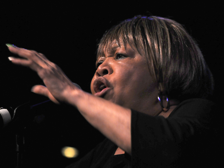 Mavis Staples, backed by Guitarist, Rick Holstrom, Bassist, Jeff Turmes, and drummer, Stephen Hodges, performing at the Helsinki Hudson, in Hudson, NY, on Sunday, February 22, 2015. Photo by Jim Peppler. Copyright Jim Peppler 2015.