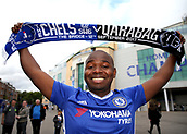 12th September 2017, Stamford Bridge, London, England; UEFA Champions League Group stage, Chelsea versus Qarabag FK; Chelsea fan posing with a Chelsea versus Qarabag FK scarf outside Stamford Bridge before kick off