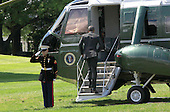 United States President Barack Obama boards Marine One as he departs the White House in Washington, DC en route to Joint Base Andrews where he will fly to New Brunswick, New Jersey to deliver a commencement speech at Rutgers University on May 15, 2016.<br /> Credit: Dennis Brack / Pool via CNP