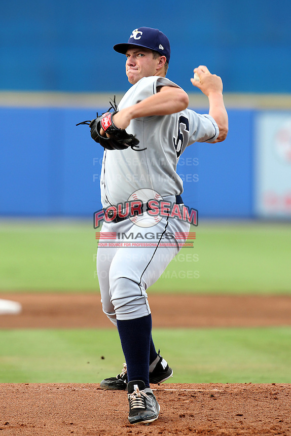 Charlotte Stone Crabs Jacob Thompson #36 during a game against the St. Lucie Mets at Digital Domain Ballpark on June 20, 2011 in Port St Lucie, Florida.  St. Lucie defeated Charlotte 3-2 in 11 innings.  (Mike Janes/Four Seam Images)