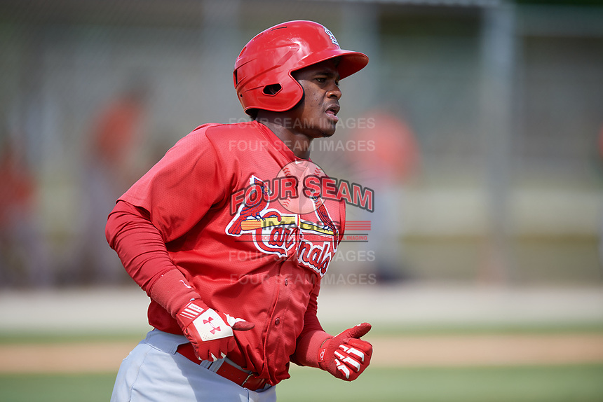 St. Louis Cardinals Elehuris Montero (34) during a Minor League Spring Training game against the Houston Astros on March 27, 2018 at the Roger Dean Stadium Complex in Jupiter, Florida.  (Mike Janes/Four Seam Images)