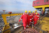 JOHANN MULLER VISITS HARLAND &amp; WOLFF BELFAST -    Wednesday 30th April 2014<br /> <br /> John Dickson, Gavin Andrews, David McVeigh, Jimmy Wright, Johann Muller and Mariska Muller on top of the Samson crane during a visit to the Harland &amp; Wolff shipyard in Belfast.<br /> <br /> Mandatory Credit - Photo by Seamus McCracken - DICKSONDIGITAL
