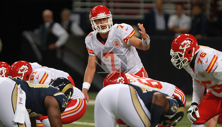 Kansas City Chiefs QB Matt Cassel motions to a teammate as they line up in first quarter action.
