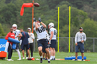 July 26, 2018: New England Patriots tight end Ryan Izzo (60) gets under the ball for a catch at the New England Patriots training camp held on the practice fields at Gillette Stadium, in Foxborough, Massachusetts. Eric Canha/CSM
