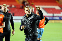 Forest Green Rovers manager Mark Cooper celebrates winning the penalty shoot-out which sends Forest Green Rovers into the second round during Charlton Athletic vs Forest Green Rovers, Caraboa Cup Football at The Valley on 13th August 2019