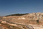 Israel, Jerusalem, Looking north from Har Khoma neighborhood, Kibbutz Ramat Rachel on the left, the Palestinian village Umm Tuba on the right<br />