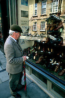 man shopping for shoes in Oxford England