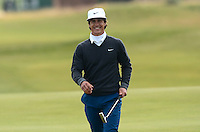 Thorbjorn Olesen of Denmark smiles after a birdie putt during Round 3 of the 2015 Alfred Dunhill Links Championship at the Old Course, St Andrews, in Fife, Scotland on 3/10/15.<br /> Picture: Richard Martin-Roberts | Golffile