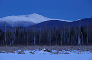 Pondicherry Wildlife Refuge - Mount Washington at blue hour from along the Presidential Range Rail Trail / Cohos Trail near Cherry Pond in Jefferson, New Hampshire.