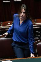Elena Boschi con una camicia azzurro acceso <br /> Roma 25-02-2014 Camera. Voto di fiducia al nuovo Governo.<br /> Senate. Trust vote for the new Government.<br /> Photo Samantha Zucchi Insidefoto