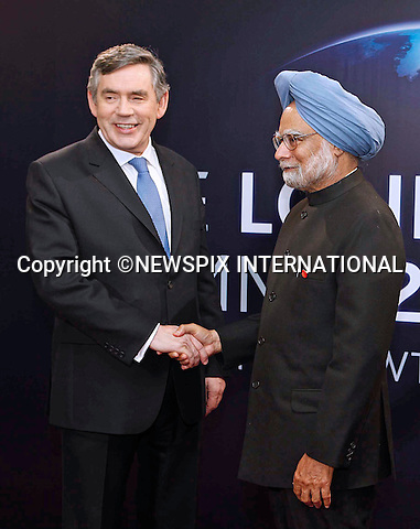 "DR MANMOHAN SINGH AND GORDON BROWN.G20 SUMMIT, Excel Centre, London_02/04/2009.Photo: Newspix International..**ALL FEES PAYABLE TO: ""NEWSPIX INTERNATIONAL""**..PHOTO CREDIT MANDATORY!!: NEWSPIX INTERNATIONAL(Failure to credit will incur a surcharge of 100% of reproduction fees)..IMMEDIATE CONFIRMATION OF USAGE REQUIRED:.Newspix International, 31 Chinnery Hill, Bishop's Stortford, ENGLAND CM23 3PS.Tel:+441279 324672  ; Fax: +441279656877.Mobile:  0777568 1153.e-mail: info@newspixinternational.co.uk"