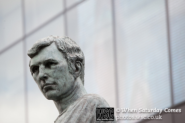 Norwich City 2 Middlesbrough 0, 25/05/2015. Wembley Stadium, Championship Play Off Final. The Bobby Moore statue outside Wembley Stadium. A match worth £120m to the victors. On the day Norwich City secured an instant return to the Premier League with victory over Middlesbrough in front of 85,656. Photo by Simon Gill.