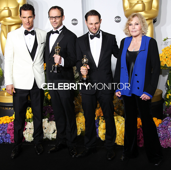 HOLLYWOOD, LOS ANGELES, CA, USA - MARCH 02: Matthew McConaughey, Laurent Witz, Alexandre Espigares, Kim Novak at the 86th Annual Academy Awards - Press Room held at Dolby Theatre on March 2, 2014 in Hollywood, Los Angeles, California, United States. (Photo by Xavier Collin/Celebrity Monitor)