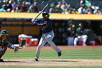 OAKLAND, CA - JULY 19:  Tim Beckham #1 of the Tampa Bay Rays bats against the Oakland Athletics during the game at the Oakland Coliseum on Wednesday, July 19, 2017 in Oakland, California. (Photo by Brad Mangin)
