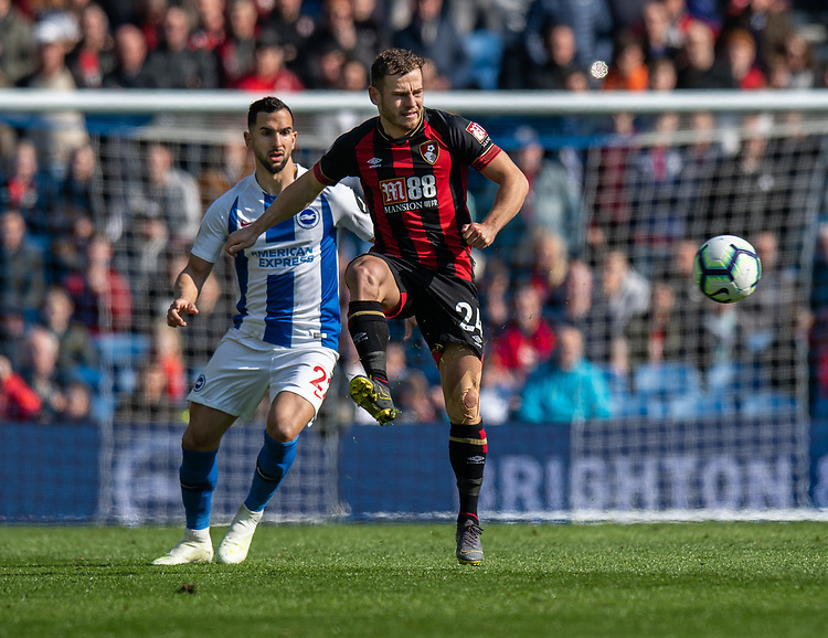 Bournemouth's Ryan Fraser (right) under pressure from Brighton & Hove Albion's Martin Montoya (right) <br /> <br /> Photographer David Horton/CameraSport<br /> <br /> The Premier League - Brighton and Hove Albion v Bournemouth - Saturday 13th April 2019 - The Amex Stadium - Brighton<br /> <br /> World Copyright © 2019 CameraSport. All rights reserved. 43 Linden Ave. Countesthorpe. Leicester. England. LE8 5PG - Tel: +44 (0) 116 277 4147 - admin@camerasport.com - www.camerasport.com
