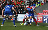 Fleetwood Town's Devante Cole and Oldham Athletic's Ryan McLaughlin<br /> <br /> Photographer Stephen White/CameraSport<br /> <br /> The EFL Sky Bet League One - Fleetwood Town v Oldham Athletic - Saturday 9th September 2017 - Highbury Stadium - Fleetwood<br /> <br /> World Copyright &copy; 2017 CameraSport. All rights reserved. 43 Linden Ave. Countesthorpe. Leicester. England. LE8 5PG - Tel: +44 (0) 116 277 4147 - admin@camerasport.com - www.camerasport.com