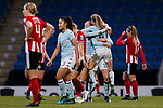 Aston Villa players celebrate whilst Sheffield United players look dejected during the The FA Women's Championship match at the Proact Stadium, Chesterfield. Picture date: 12th January 2020. Picture credit should read: James Wilson/Sportimage