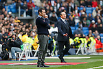 Real Madrid´s coach Rafa Benitez (R) and Real Sociedad´s coach Eusebio Sacristan during La Liga match between Real Madrid and Real Sociedad at Santiago Bernabeu stadium in Madrid, Spain. December 30, 2015. (ALTERPHOTOS/Victor Blanco)