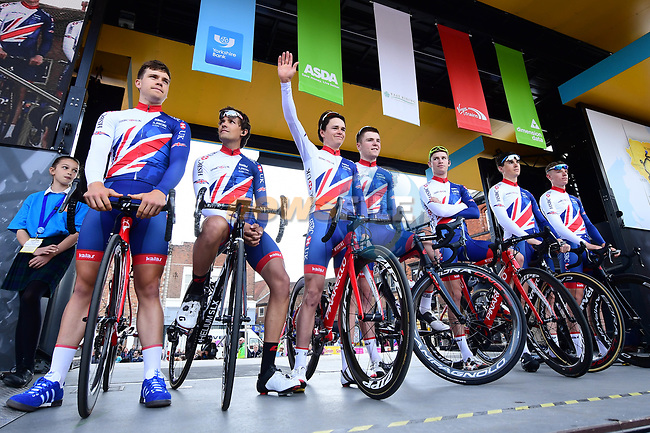 British National Team at sign on before the start of Stage 1 of the Tour de Yorkshire 2018 running 182km from Beverley to Doncaster, England. 3rd May 2018.<br /> Picture: ASO/Alex Broadway | Cyclefile<br /> <br /> <br /> All photos usage must carry mandatory copyright credit (© Cyclefile | ASO/Alex Broadway)