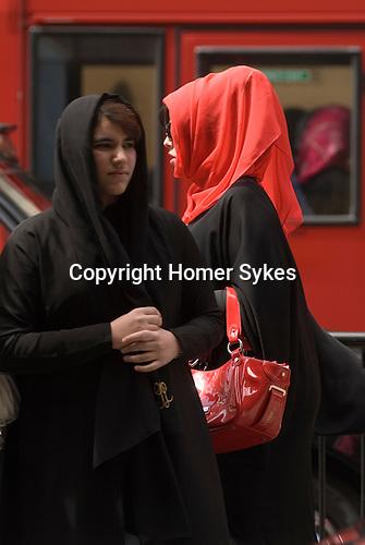 Middle Eastern tourists in Knightsbridge London 2009.
