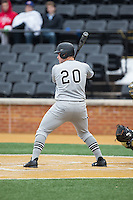 Connor Leonard (20) of the Appalachian State Mountaineers at bat against the Wake Forest Demon Deacons at Wake Forest Baseball Park on February 13, 2015 in Winston-Salem, North Carolina.  The Mountaineers defeated the Demon Deacons 10-1.  (Brian Westerholt/Four Seam Images)