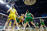 SIOUX FALLS, SD - MARCH 7: Olivia Lane #34 of the North Dakota Fighting Hawks and Tylee Irwin #21 of the South Dakota State Jackrabbits fight for a jump ball at the 2020 Summit League Basketball Championship in Sioux Falls, SD. (Photo by Richard Carlson/Inertia)