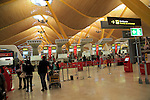 Modern architecture interior of terminal 4 building, Adolfo Suárez Madrid–Barajas airport, Madrid, Spain