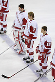 Brian Elliott 1, Joe Piskula 7 and Tom Gorowsky 15 of the University of Wisconsin line up for the anthem. The Boston College Eagles defeated the University of Wisconsin Badgers 3-0 on Friday, October 27, 2006, at the Kohl Center in Madison, Wisconsin in their first meeting since the 2006 Frozen Four Final which Wisconsin won 2-1 to take the national championship.<br />