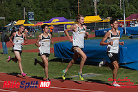 Lafayette's (left to right) Dylan Quisenberry, Alec Haines, Austin Hindman, and Devin Meyrer run to an impressive 1-4 finish in the 3200 meters in 9:24 at the 2016 MSHSAA Class 5 District 2 Track and Field Meet at Ladue High School, St. Louis, Saturday, May 14.