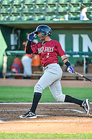 Jeckson Flores (2) of the Idaho Falls Chukars at bat against the Ogden Raptors in Pioneer League action at Lindquist Field on August 27, 2015 in Ogden, Utah. Ogden defeated the Chukars 4-3.  (Stephen Smith/Four Seam Images)