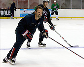 Mark Osiecki (US - Assistant Coach), Matt Donovan (US - 7) - Team USA practiced on Friday, August 14, 2009, in the 1980/Herb Brooks (international-sized) Rink prior to their third game versus Team Russia during the 2009 USA Hockey National Junior Evaluation Camp in Lake Placid, New York.
