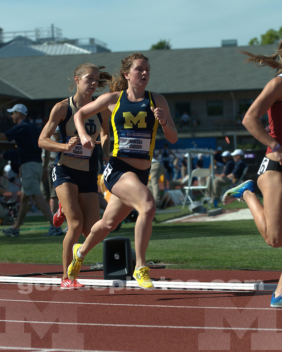 The University of Michigan women's track and field team on day two of the NCAA Championships at Hayward Field in Eugene, Ore., on June 6, 2013.