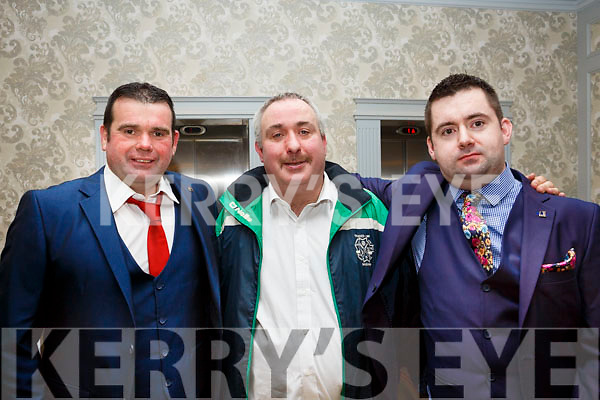 William Quinlan, Dotie (Gerald) Guerin and TJ Goggin   attending the Ballyduff GAA Social in the Rose Hotel on Saturday night last.